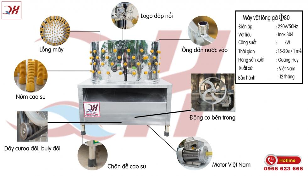 Cấu tạo máy vặt lông gà vịt giá rẻ tại Quang Huy