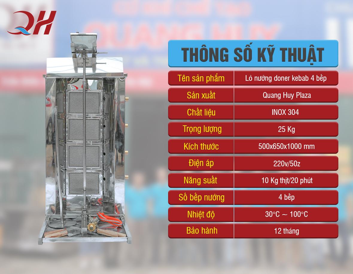 Thông số kỹ thuật lò nướng thịt bánh mì thổ nhĩ kỳ tại Quang Huy